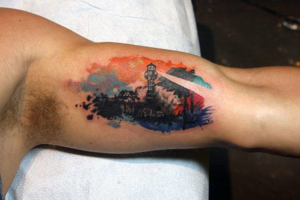 Watercolor Lighthouse Creative Mens Bicep Tattoos