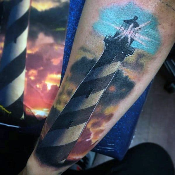 Watercolor Lighthouse Unique Forearm Tattoos For Guys