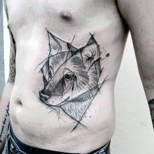 Watercolor Lines Geometric Wolf Male Rib Cage Side Of Body Tattoos