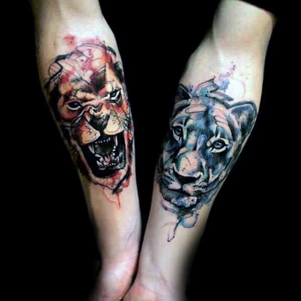 Watercolor Lion Forearm Tattoo Ideas For Gentlemen