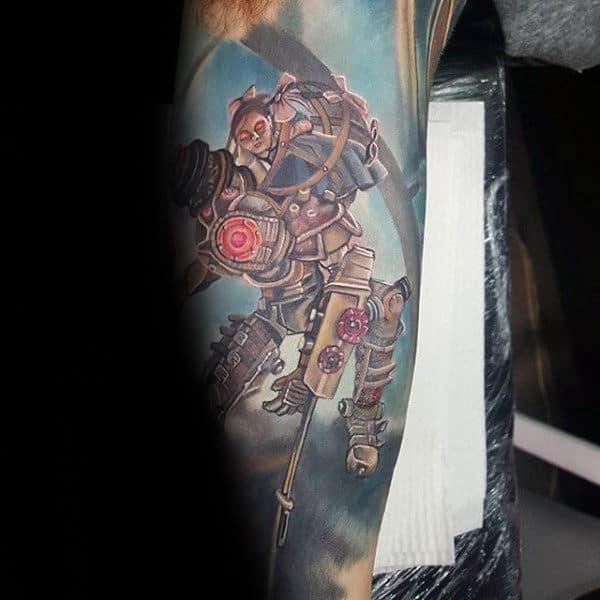 Watercolor Male Bioshock Sleeve Tattoos