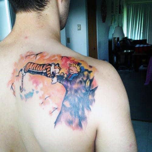 Watercolor Male Calvin And Hobbes Tattoo On Shoulder Blade