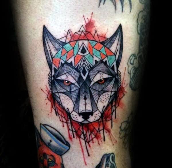Watercolor Male Geometric Wolf Arm Tattoo