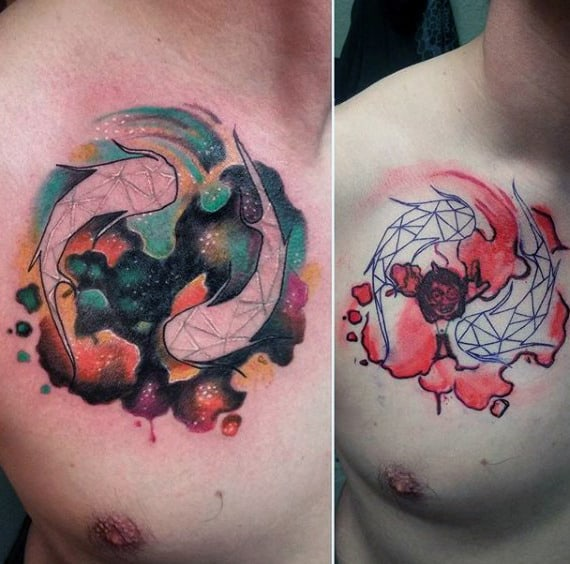 Watercolor Male Pisces Tattoo Design Ideas