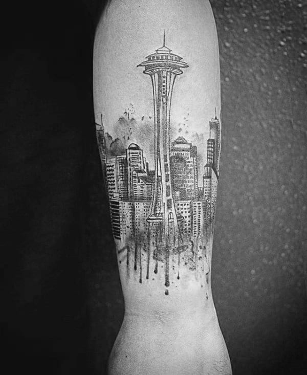 Watercolor Male Seattle Skyline Forearm Tattoos