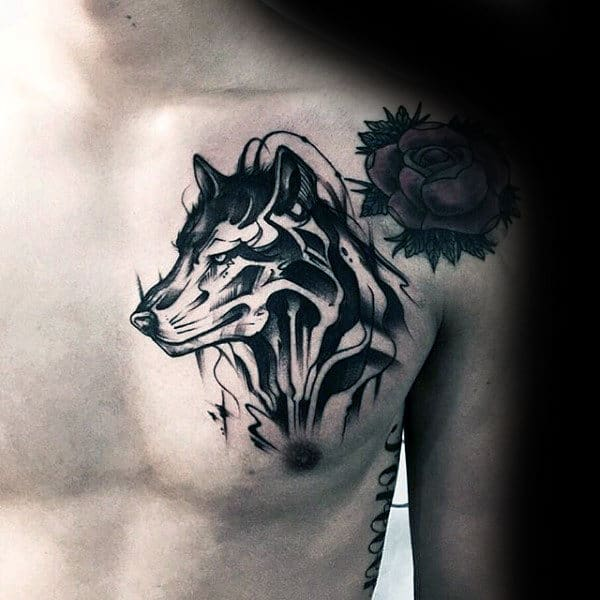 Watercolor Male Wolf Upper Chest Tattoo Ideas