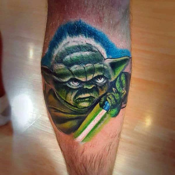 daad39456 Watercolor Male Yoda Light Saber Tattoo Ideas For Men On Leg Calf