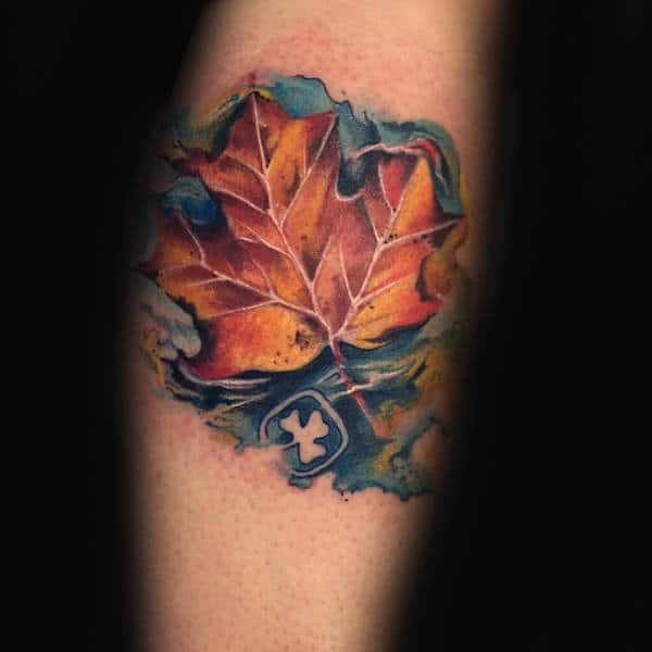 Watercolor Maple Leaf In Water Male Tattoos