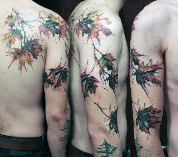Watercolor Maple Leaf Mens Full Arm Tattoo Ideas