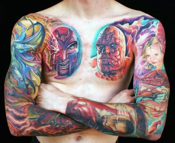 Watercolor Marvel Full Sleeve And Chest Tattoos For Guys