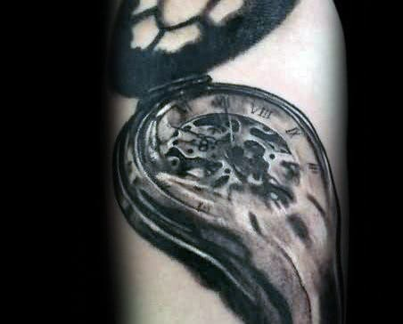 Watercolor Melting Clock Male Tattoo Design Ideas