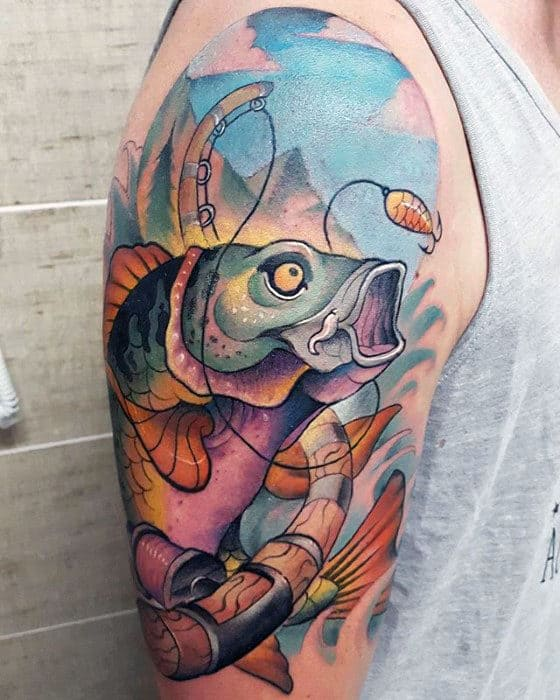 Watercolor Mens Artistic Trout Half Sleeve Tattoo