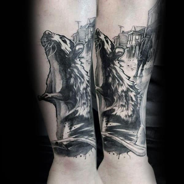 Watercolor Mens Black And Grey Ink Rat Outer Forear Tattoos