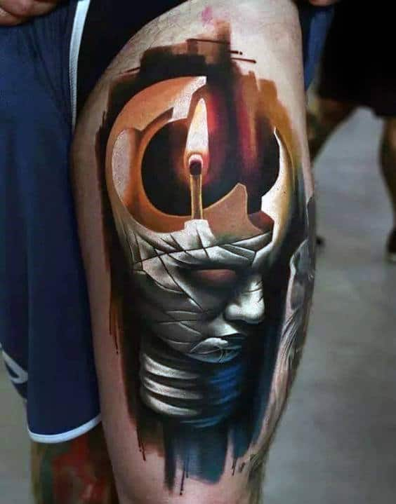 Watercolor Mens Candle Flame Lightbulb Thigh Tattoo Design Inspiration
