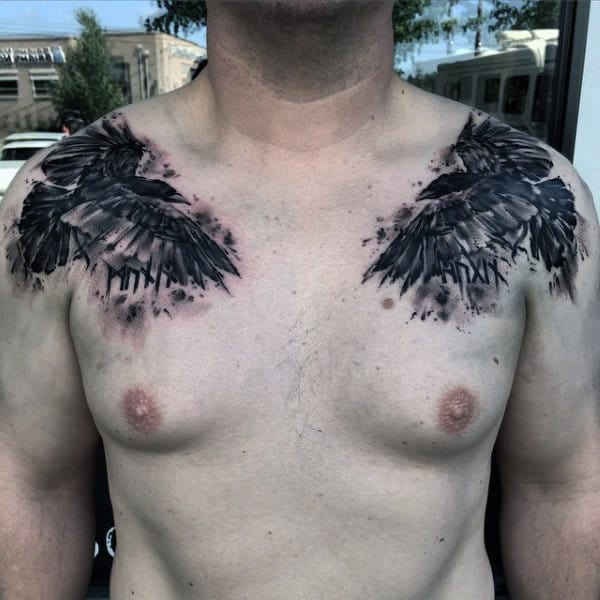 Watercolor Mens Creative Bird Chest Tattoos