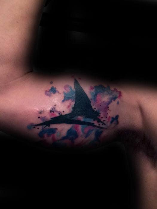 Watercolor Mens Creative Shark Fin Inner Arm Bicep Tattoo