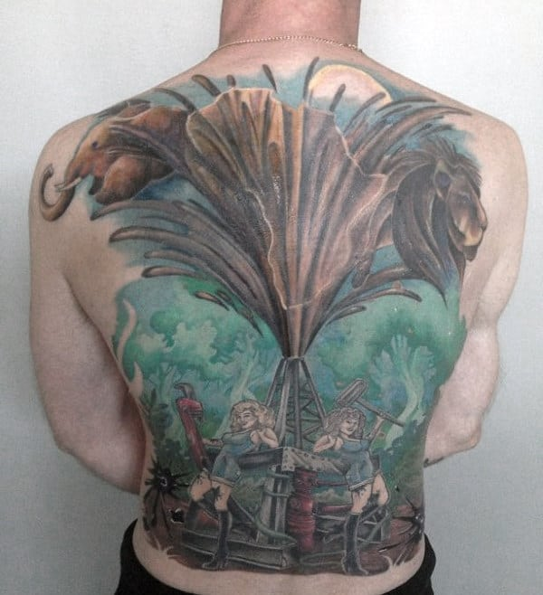 Watercolor Mens Crude Oil Well Full Back Tattoos