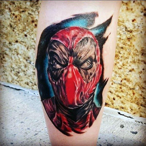Watercolor Mens Deadpool Leg Calf Tattoos