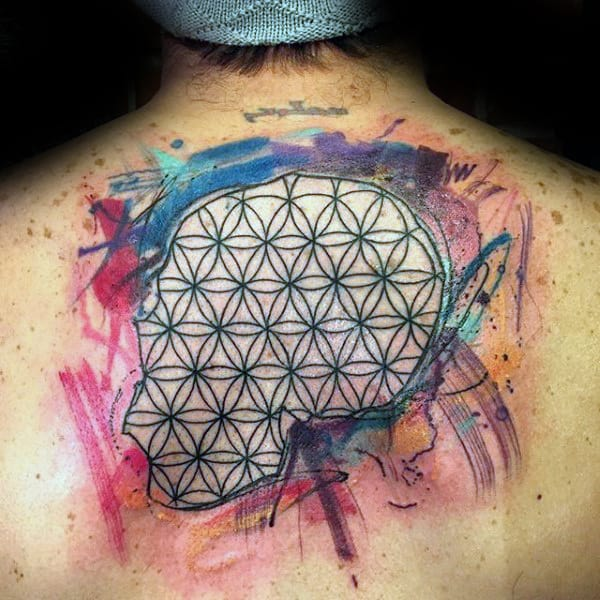 Watercolor Mens Flower Of Life Back Tattoo