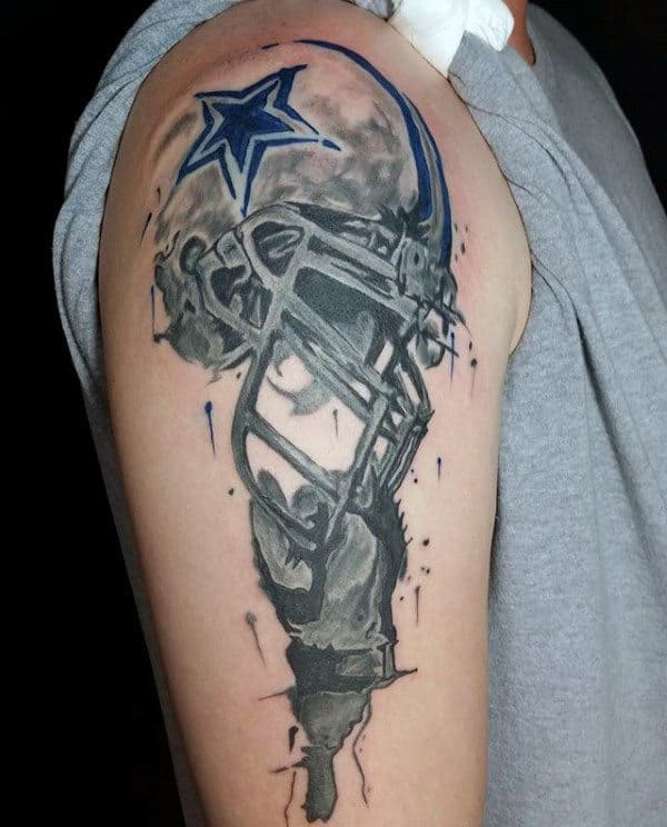 Watercolor Mens Football Helmet Arm Tattoo Design