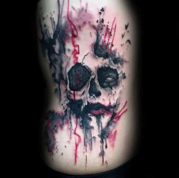 Watercolor Mens Joker Black And Red Ink Rib Cage Side Tattoos