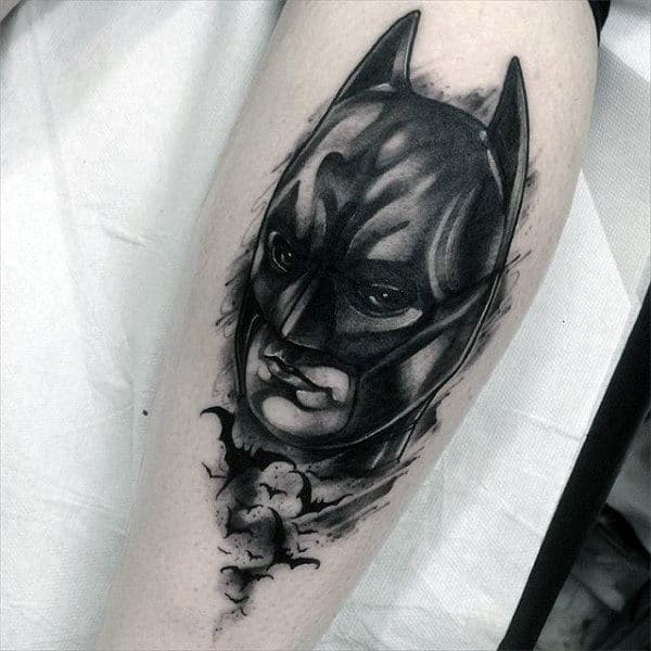 Watercolor Mens Leg Batman Tattoos
