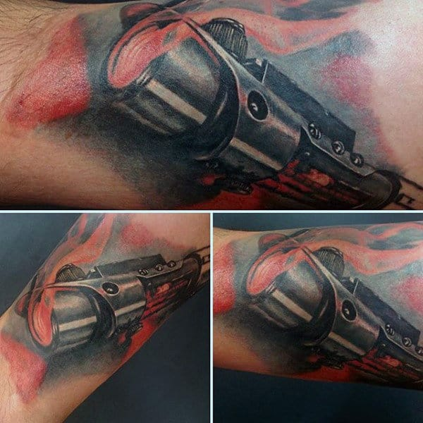 Watercolor Mens Lightsaber Arm Tattoo Ideas