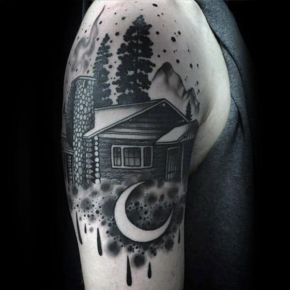 Watercolor Mens Negative Space Moon With Cabin Arm Tattoo Designs