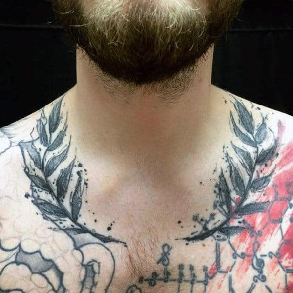 Watercolor Mens Olive Branch Tattoos On Upper Chest