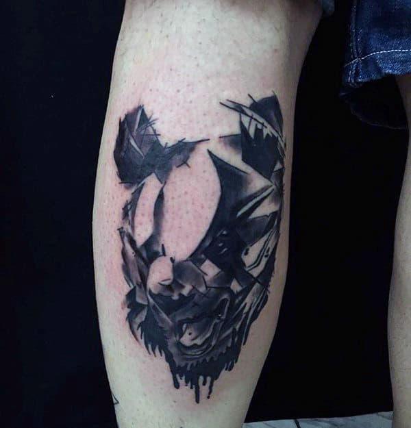 Watercolor Mens Panda Leg Calf Tattoos