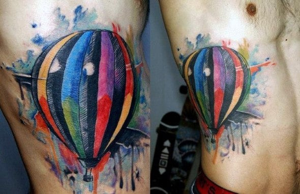 Watercolor Mens Rib Cage Side Colorful Hot Air Balloon Tattoos