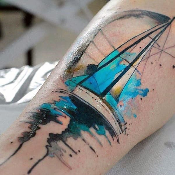 Watercolor Mens Sailboat Insane Arm Tattoo