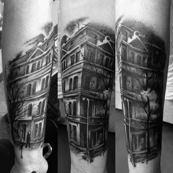 Watercolor Mens Shaded Building Forearm Tattoo Design Inspiration