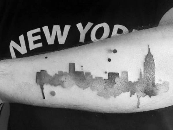 Watercolor Mens Tattoo With New York Skyline Design