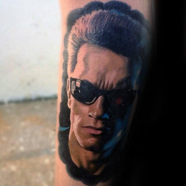 Watercolor Mens Terminator Portrait Tattoo On Arm