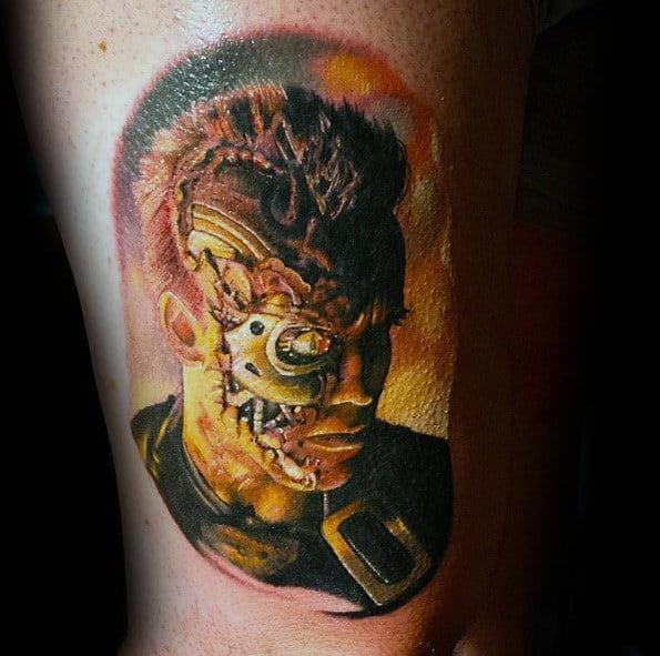 Watercolor Mens Terminator Thigh Tattoos