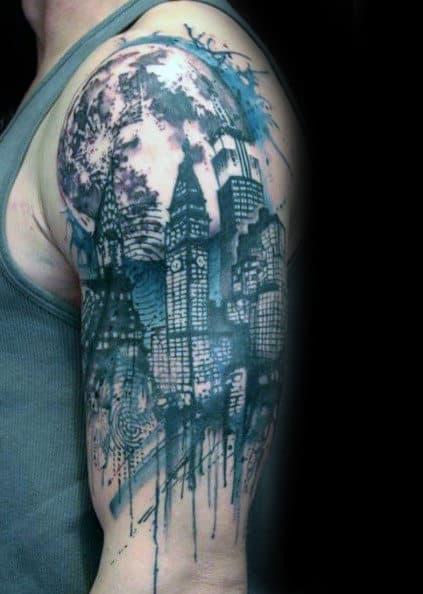 Watercolor Moon Skyline Guys Arm Tattoos