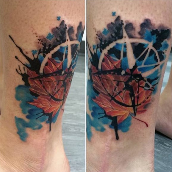 Watercolor Nautical Star Maple Leaf Mens Leg Tattoo