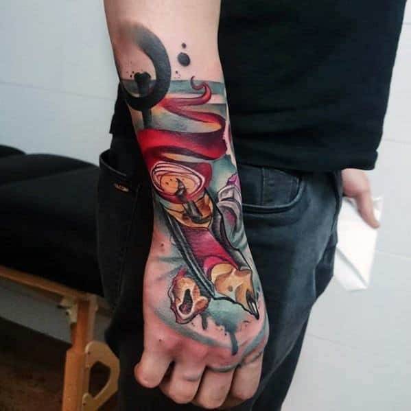 Watercolor New School Hand And Wrist Mens Cool Pencil Tattoo Design Inspiration