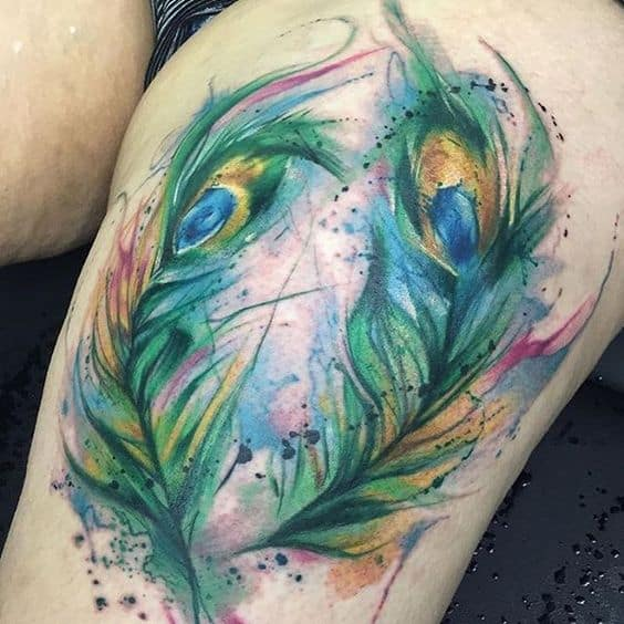 Watercolor Nice Peacock Feather Tattoo