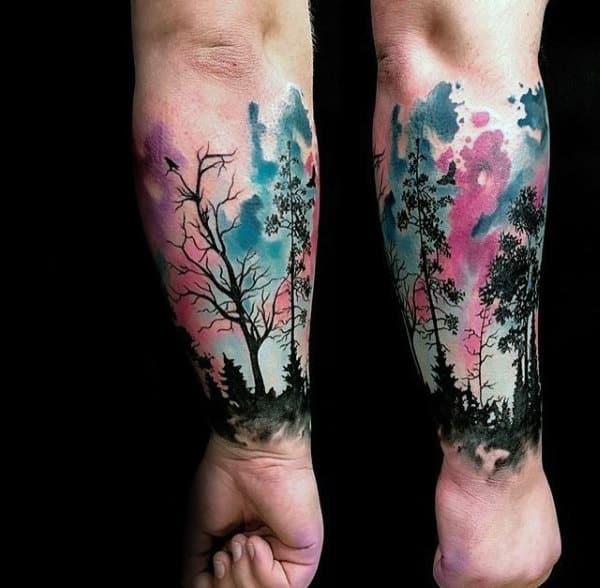 Watercolor Northern Lights Tree Forearm Sleeve Guys Tattoos