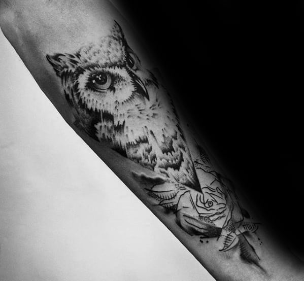 Watercolor Owl With Rose Flower Guys Inner Forearm Tattoos