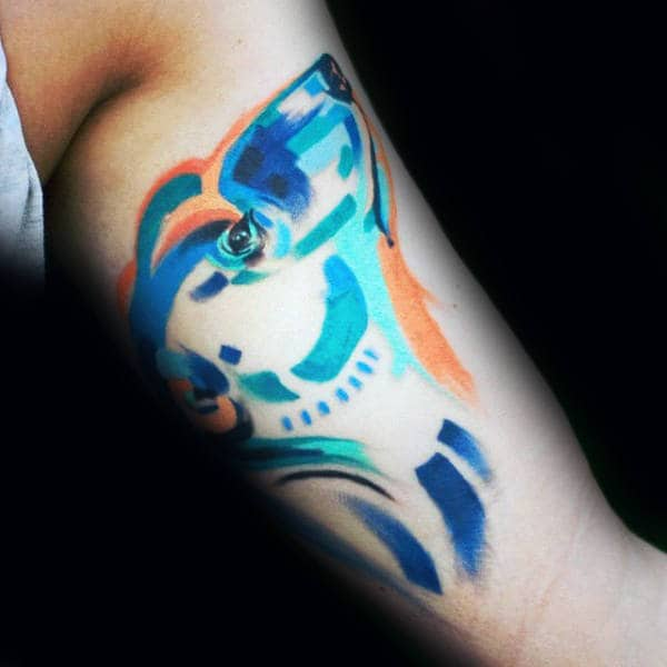 Watercolor Paint Brush Polar Bear Mens Inner Arm Bicep Tattoo