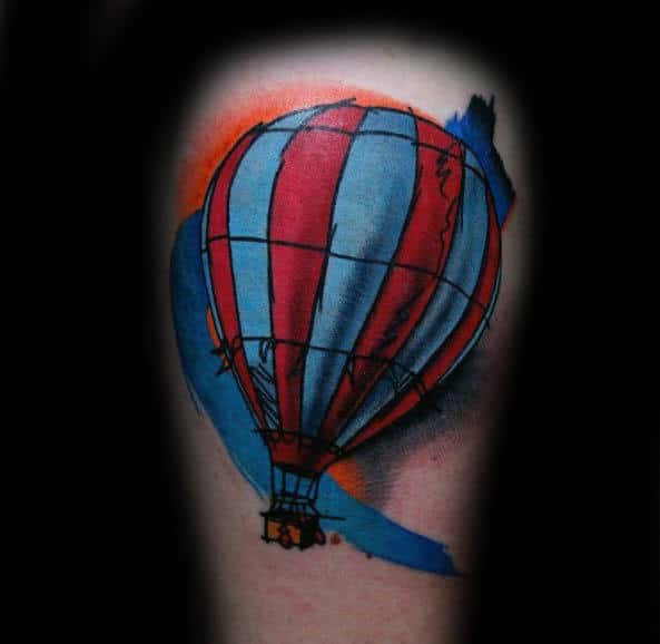 Watercolor Paint Brush Stroke Hot Air Balloon Creative Tattoos For Men