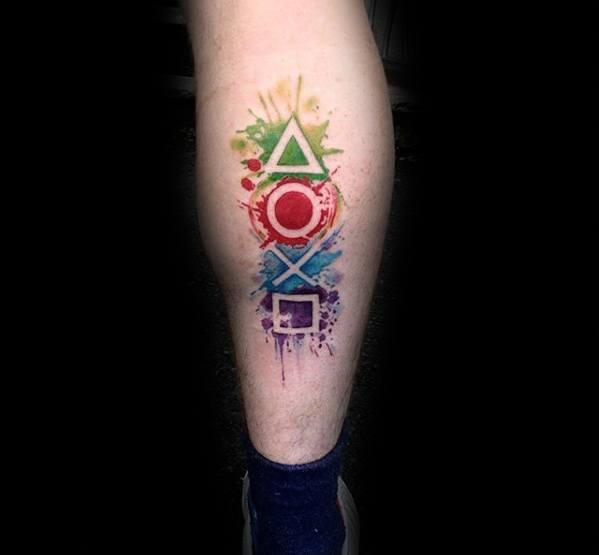 Watercolor Paint Splatter Back Of Leg Playstation Mens Tattoo Designs