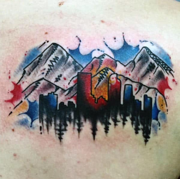 Watercolor Paint Splatter City Skyline Of Colorado Mens Back Tattoos