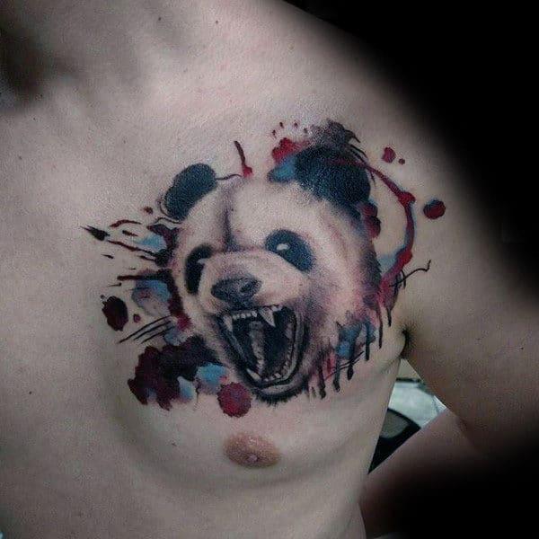 Watercolor Paint Splatter Roaring Panda Mens Upper Chest Tattoo