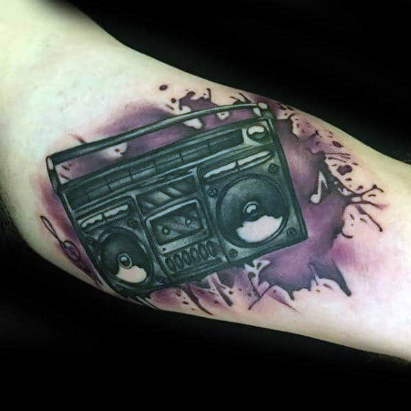 Watercolor Paint Splatter With Boombox Mens Forearm Tattoo