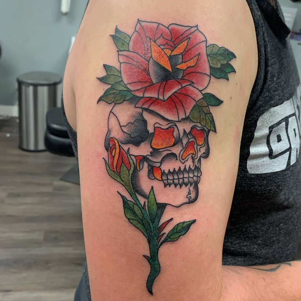 watercolor-painting-skull-rose-tattoo-derekroyaltattooer