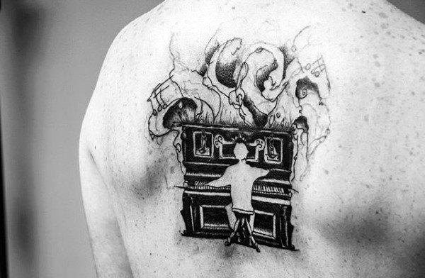 Watercolor Piano Player Male Upper Back Tattoo Designs